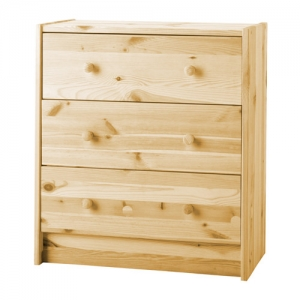 Pine wood 3 drawer chest